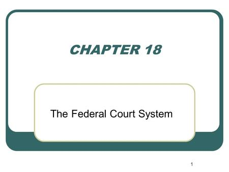 1 CHAPTER 18 The Federal Court System Creation Article III Supreme Court Congress may create inferior courts Dual Courts Federal State.
