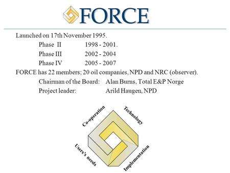 Launched on 17th November 1995. Phase II 1998 - 2001. Phase III2002 - 2004 Phase IV 2005 - 2007 FORCE has 22 members; 20 oil companies, NPD and NRC (observer).