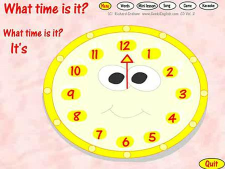 3B Unit 6 What time is it? It's time for class. (上课的时候到了。)