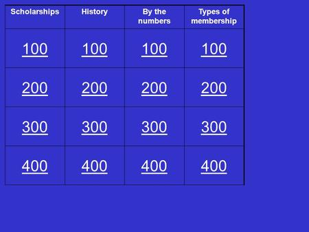 ScholarshipsHistoryBy the numbers Types of membership 100 200 300 400.