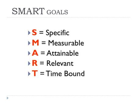 SMART GOALS  S = Specific  M = Measurable  A = Attainable  R = Relevant  T = Time Bound.