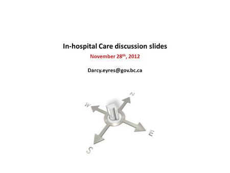 In-hospital Care discussion slides November 28 th, 2012