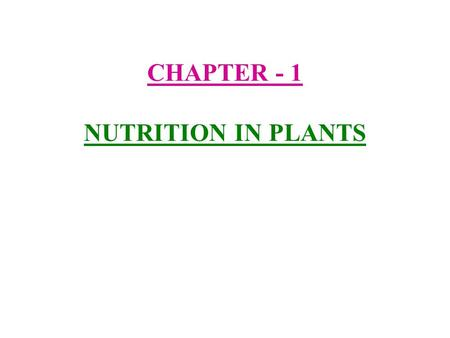 CHAPTER - 1 NUTRITION IN PLANTS. 1) Nutrients :- The components of food like carbohydrates, fats, proteins vitamins and minerals are called nutrients.