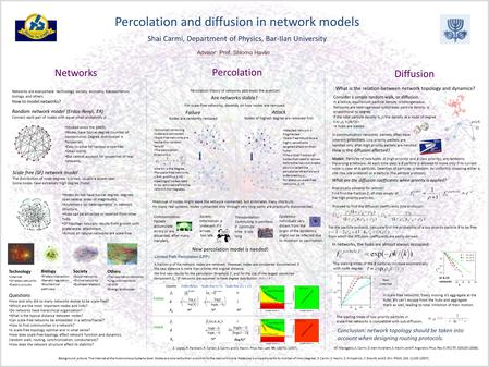 Percolation and diffusion in network models Shai Carmi, Department of Physics, Bar-Ilan University Networks Percolation Diffusion Background picture: The.