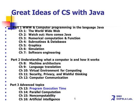 SNU OOPSLA Lab. 1 Great Ideas of CS with Java Part 1 WWW & Computer programming in the language Java Ch 1: The World Wide Web Ch 2: Watch out: Here comes.