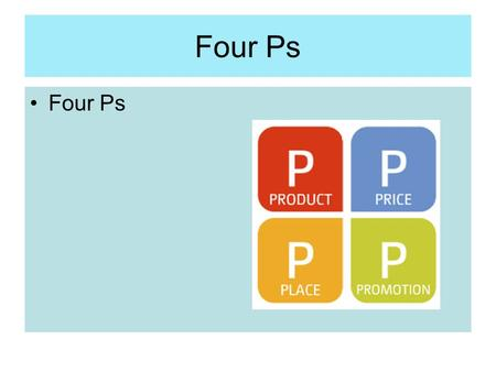 Four Ps. Marketing Mix Product Price Promotion Place.