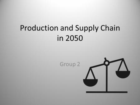 Production and Supply Chain in 2050 Group 2. Producer Resources Government R&D Adoption Demand Consumer.