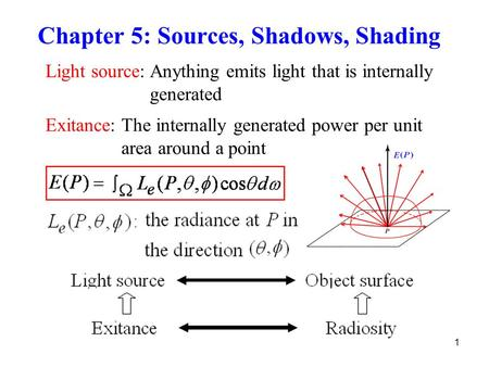 1 Chapter 5: Sources, Shadows, Shading Light source: Anything emits light that is internally generated Exitance: The internally generated power per unit.