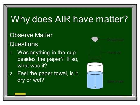 Why does AIR have matter? Observe Matter Questions  Was anything in the cup besides the paper? If so, what was it?  Feel the paper towel, is it dry.
