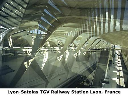 Lyon-Satolas TGV Railway Station Lyon, France. Built for the 1992 Winter Olympics in Albertville, France, this is Santiago Calatrava's competition winning.