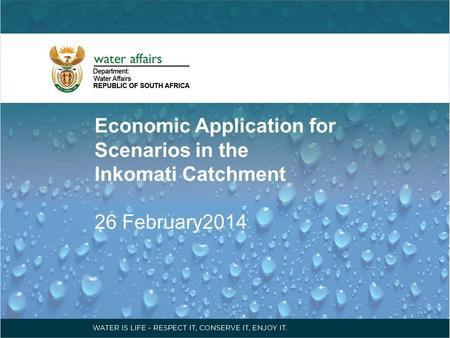 Economic Application for Scenarios in the Inkomati Catchment 26 February2014.