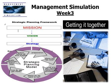 S I M U L A T I O N M A N A G E M E N T Management Simulation Week3 Getting it together.