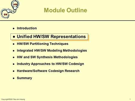 1 Copyright  2001 Pao-Ann Hsiung SW HW Module Outline l Introduction l Unified HW/SW Representations l HW/SW Partitioning Techniques l Integrated HW/SW.