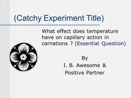 (Catchy Experiment Title) What effect does temperature have on capillary action in carnations ? (Essential Question) By I. B. Awesome & Positive Partner.