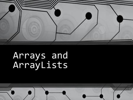 Arrays and ArrayLists. int numbers[] = new int[10]; 00 10 20 30 40 50 60 70 80 90 numbers Other ways to declare the same array 1) int[] numbers = new.