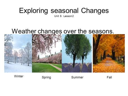 Exploring seasonal Changes Unit 5: Lesson 2 Weather changes over the seasons. FallSummerSpring Winter.