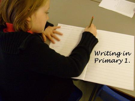 Writing in Primary 1.. Aims of the workshop To give you…. an insight into how we teach writing at Livingston Village. ideas to support and encourage your.