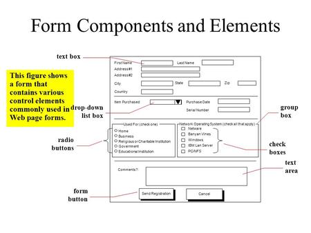 Form Components and Elements This figure shows a form that contains various control elements commonly used in Web page forms. First Name Address #1 Address.