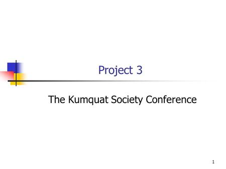 1 Project 3 The Kumquat Society Conference. 2 Conference Registration In this project you will write a program to handle a conference registration. The.