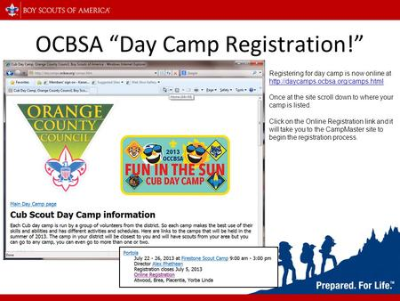 "OCBSA ""Day Camp Registration!"" Registering for day camp is now online at   Once."