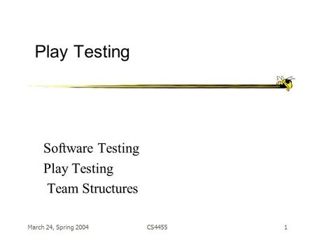 March 24, Spring 2004CS44551 Play Testing Software Testing Play Testing Team Structures.