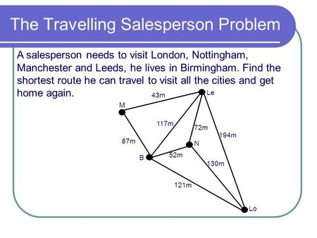 The Travelling Salesperson Problem A salesperson needs to visit London, Nottingham, Manchester and Leeds, he lives in Birmingham. Find the shortest route.
