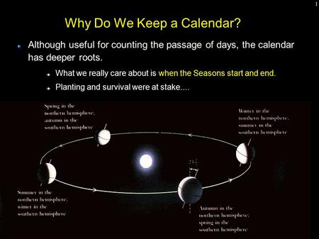 1 Why Do We Keep a Calendar? Although useful for counting the passage of days, the calendar has deeper roots.  What we really care about is when the Seasons.