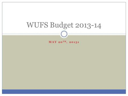 MAY 20 TH, 20131 WUFS Budget 2013-14. Overall Budget 2012-132013-14Change Total Spending $4,090,343$4,253, 899+$163,556 State Aid$1,381,853$1,540,333$158,540.