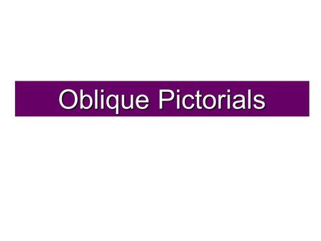Oblique Pictorials. An Oblique pictorial starts with a straight-on view of one of the object's faces, which is often the front face. Angled, parallel.