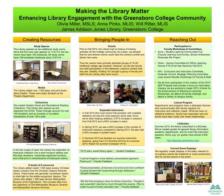Making the Library Matter Enhancing Library Engagement with the Greensboro College Community Olivia Miller, MSLS; Anna Pinks, MLIS; Will Ritter, MLIS James.