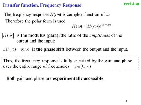 revision Transfer function. Frequency Response