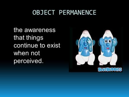 OBJECT PERMANENCE the awareness that things continue to exist when not perceived.