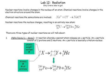Lab 12: Radiation Only 0 more labs to go!! Nuclear reactions involve changes in the nucleus of an atom. Chemical reactions involve changes in the electron.