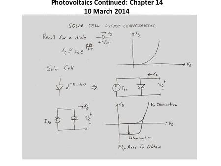Photovoltaics Continued: Chapter 14 10 March 2014.