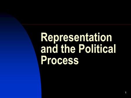 1 Representation and the Political Process. 2 Democracy Direct (historically earlier form): citizens themselves govern  To which extent is it possible?