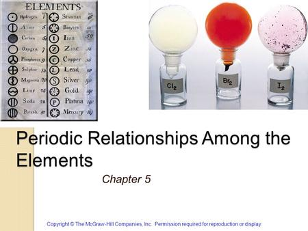 Periodic Relationships Among the Elements Chapter 5 Copyright © The McGraw-Hill Companies, Inc. Permission required for reproduction or display.