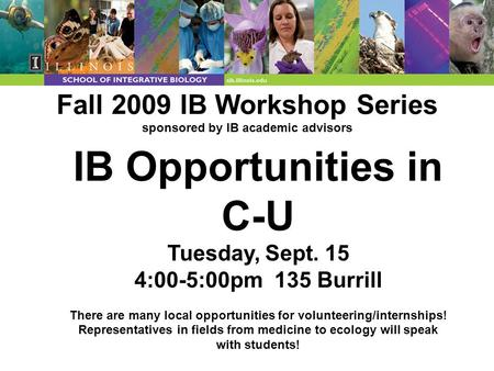 Fall 2009 IB Workshop Series sponsored by IB academic advisors IB Opportunities in C-U Tuesday, Sept. 15 4:00-5:00pm 135 Burrill There are many local opportunities.