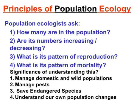 Principles of Population Ecology