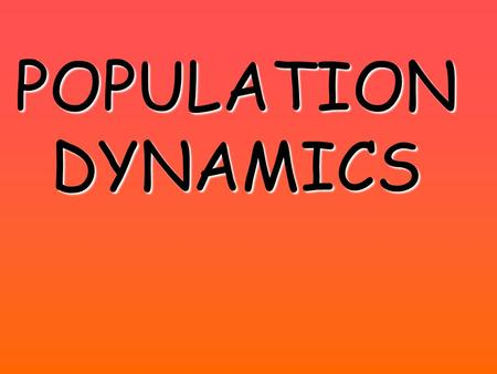 POPULATION DYNAMICS. Population Dynamics and the Sea Otter The population dynamics of the sea otter have helped us to better understand the ecological.