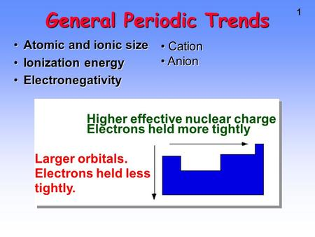 1 General Periodic Trends Atomic and ionic sizeAtomic and ionic size Ionization energyIonization energy ElectronegativityElectronegativity Higher effective.