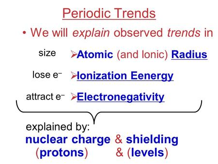 Periodic Trends We will explain observed trends in  Atomic (and Ionic) Radius  Ionization Eenergy  Electronegativity size lose e – attract e – nuclear.
