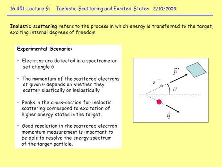 16.451 Lecture 9: Inelastic Scattering and Excited States 2/10/2003 Inelastic scattering refers to the process in which energy is transferred to the target,