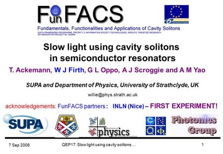 7 Sep 2006 QEP17: Slow light using cavity solitons …1 Slow light using cavity solitons in semiconductor resonators T. Ackemann,