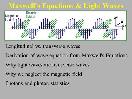 Maxwell's Equations & Light Waves Longitudinal vs. transverse waves Derivation of wave equation from Maxwell's Equations Why light waves are transverse.