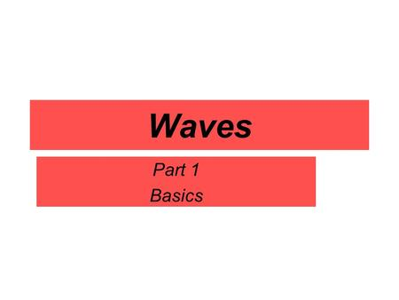 Waves Part 1 Basics What is a wave? A wave is a disturbance that carries energy through matter or space.