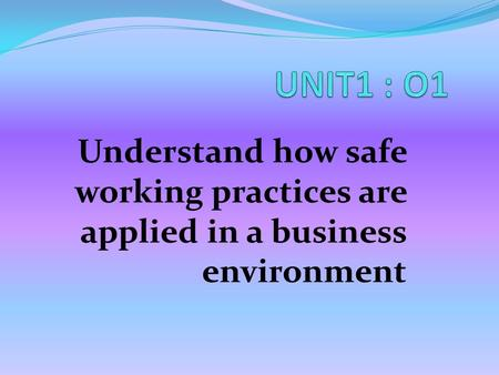 Understand how safe working practices are applied in a business environment.