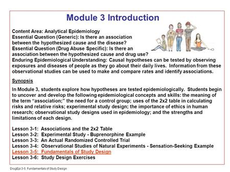 DrugEpi 3-5 Fundamentals of Study Design Module 3 Introduction Content Area: Analytical Epidemiology Essential Question (Generic): Is there an association.