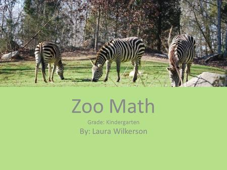 Zoo Math Grade: Kindergarten By: Laura Wilkerson.