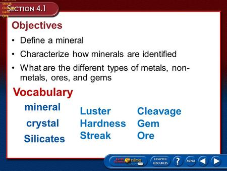 Vocabulary Objectives mineral Luster Cleavage Hardness Gem crystal