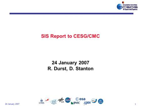 1 24 January 2007 SIS Report to CESG/CMC 24 January 2007 R. Durst, D. Stanton.